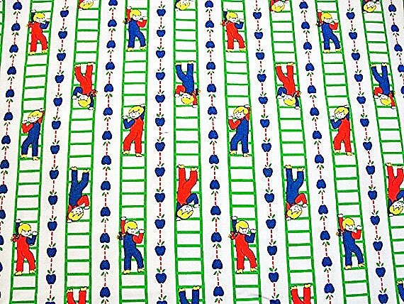 Vintage 1970s cotton fabric kids fabric by fabrictreasures4u for Vintage childrens fabric prints