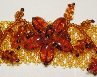 Amber Beaded Floral Bracelet (Amber#A-3)