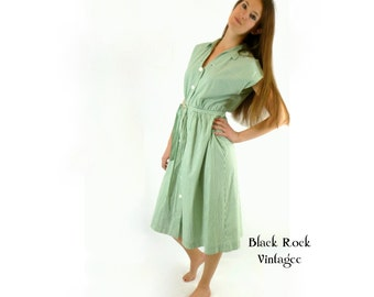 Shirt Dress, Green and White Striped, Vintage 1950s 1960s Size Medium Large Day Dress