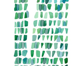 Watercolor painting Seaglass Abstract painting teal green sea glass summer nautical style