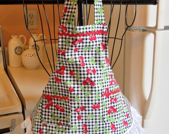 Toddlers Retro Vintage Style Full Apron with Cherries MADE TO ORDER