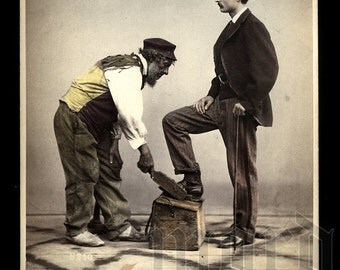 RESERVED / Do Not Buy // Amazing c1870 Hand Colored Occupational Street Scene Photo - Shoe Shine Man