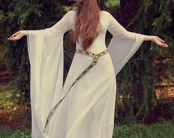 Celtic Wedding dress Galadriel Costume Elvish, Medieval, Pre- Raphaelite, Gothic, Faery white medieval