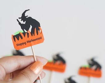 12 Brewing Witch Halloween Fun Party Picks - Cupcake Toppers - Food Picks