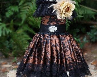 Vintage Flower Girls Feather Dress