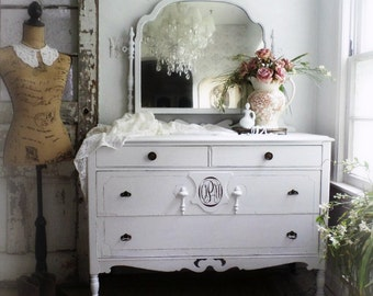 M O N O G R A M M E D Antique Dresser Beach Cottage Decor Shabby Chic Hand Painted Furniture