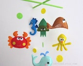"Baby Mobile - octopus and squid Crib Mobile - Handmade Nursery Mobile - ""Bubble Bubble Under the sea"" (Match your bedding)"