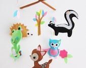 "Baby Crib Mobile - Baby Mobile - Neutral Mobile - ""Frog, Skunk, Porcupine, fawn"" design (Pick your color)"