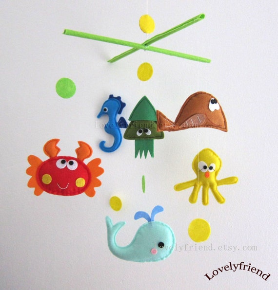 """Baby Mobile - octopus and squid Crib Mobile - Handmade Nursery Mobile - """"Bubble Bubble Under the sea"""" (Match your bedding)"""
