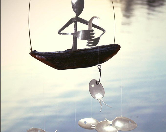 Spoon Man Driftwood Boat And Spoon Fish Wind Chime,garden Wind Chime, Hunter Gift Idea, Fishing Spoon Art, Grandfather Present, Gift For Dad