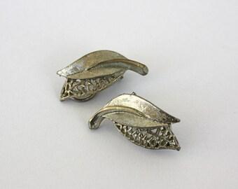 Vintage 60s BSK Earrings Classic Silver Double Leaf w Clip Backs