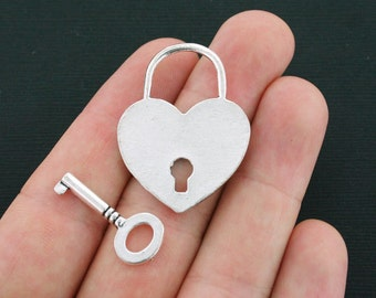 2 Heart Lock and Key Charms Antique Silver Tone 2 Sided or Toggle Set - SC4112