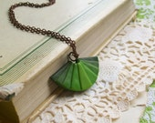 Ombre fan necklace polymer clay pendant necklace forest green banana green dark green color progression geometric necklace