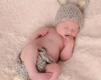 Newborn Easter Hat and Diaper Cover set, Baby Grey Bunny Hat and Diaper Cover Set, Baby Easter Set,  Crochet Baby PHOTO PROP