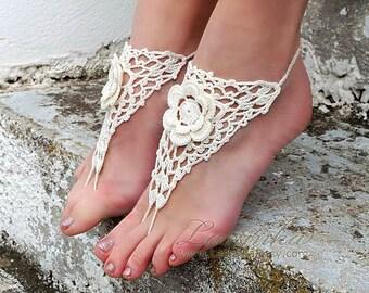 Beach Wedding Crochet Barefoot Sandals, Cream Nude shoes, Destination Wedding Bare Foot. Foot jewelry, Barefoot bride, Bridesmaid gift.