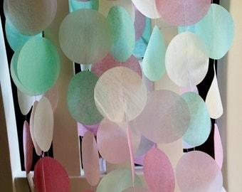 Tissue Paper Garland, Paper Garland, Party Garland, Birthday Garland, Wedding Garland, Photo Backdrop- Vintage Mint and Pink
