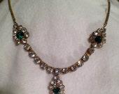 Vintage Crystal Wedding Necklace Rhinestone Green Clear Rare Beauty