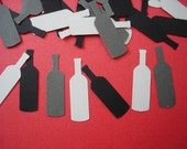 50 Wedding Gray and Black Wine Bottle confetti paper punch die cut scrapbook embellishments - No133