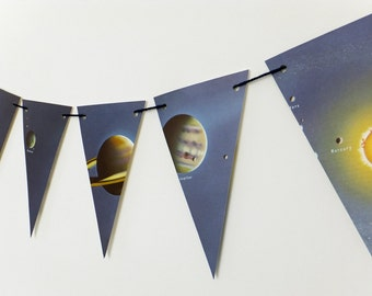 Solar System Bunting, Sun Bunting, Planets Garland, Eco-friendly garland - recycled banner - pennants