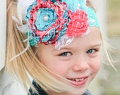 Teal and coral couture Headband with pearls, lace, net and feathers  for newborn  toddler  child  girl