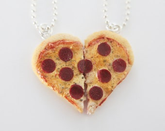 Best Friends Pizza Necklace - Food Jewelry - Heart Pizza - BFF