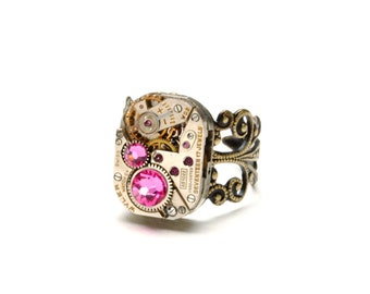 Steampunk Ring OCTOBER ROSE PINK Steampunk Watch Ring Birthstone Ring Antique Brass Ring Steam Punk Steampunk Jewelry Victorian Curiosities