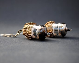 Steampunk Vacuum Tube Earrings - Acorn Brass Drops