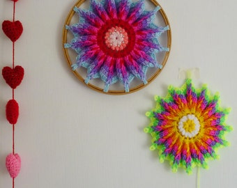 Mandala Crochet Pattern Hoop PDF - ottoman or crochet  hoop wall art photo tutorial - Instant DOWNLOAD