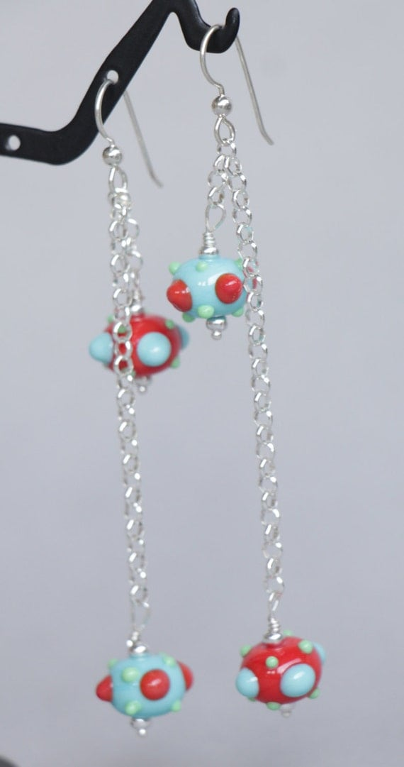 Funky Turquoise Coral Green Asymmetrical Lampworking Sterling Chain Earrings