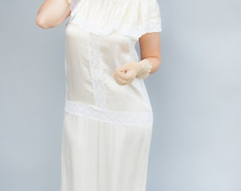 Vintage 1920's Dress - Daisy Fay - Twenties Ivory Silk Wedding Dress / Slip
