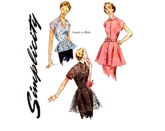1950s Evening Blouse Pattern Uncut Simplicity 1460 3535 Peplum Scalloped Neckline Belted Tops Tunic Overskirt Womens Vintage Sewing Patterns