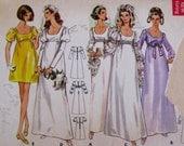 1960s Wedding Dress Pattern, Butterick 5564, Womens Empire Waist Scoop Neck Mini Maxi Dress Sewing Pattern Juniors Size 11, Bust 33.5