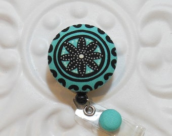 Retractable Badge Holder Id Reel  Fabric Covered Button Turquoise Black And White
