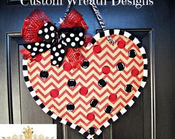 Burlap Valentines Day Heart Door Hanging