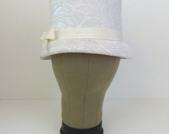 1950s Hat White Hat Floral Hat Flocked Hat 50s White Top Hat Style Hat with Bow White Bucket Hat White on White Floral Hat White Dress Hat