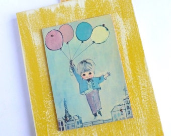 Wall Art Yellow Plaque with Velvet Hanger Boy Holding Balloons Eiffel Tower Paris France Bedroom Bathroom Decor by Jakson