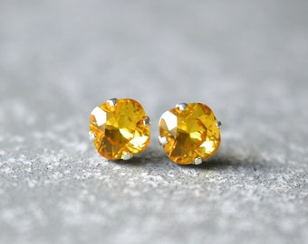 Canary Diamond Swarovski Earrings Super Sparklers Square Canary Diamond Stud Earrings Yellow Mashugana