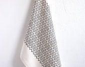 Kitchen Towel Organic Cotton Handprinted Black Natural White