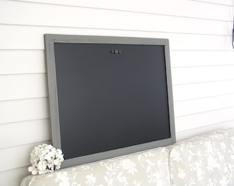 Rustic Chalkboard Magnetic Board Message Center Bulletin Board 38.5 x 26.5 Restaurant Kitchen Menu Handmade Hardwood Charcoal Gray Frame
