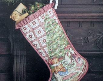 Rare Debra Jordan Meyer ROUND The TREE Christmas STOCKING By Leisure Arts The Fraser Collection - Counted Cross Stitch Pattern Chart
