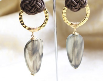 Brown Chinese Knot  with Golden Circle Long Drop Earrings (E647)