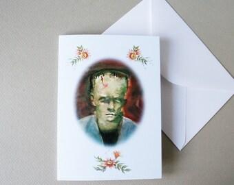 Geek gift. Funny greeting card. Dad birthday card. Monster art print. Frankenstein art. Geek boyfriend gift. Kitsch art note card. Goth art.