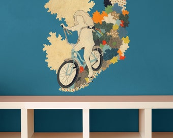 """Girl on Bike Collage Art Wall Decal by Hollie Chastain - """"The First Freedom"""""""