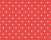 18 x 20 LAMINATED cotton fabric - Verona Vintage dots coral (aka oilcloth, coated vinyl slicker fabric)