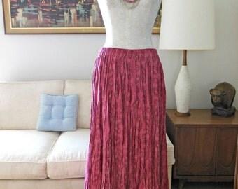 Paisley Broom Skirt 4 Tier OOAK Custom Vintage Silver Tip Originals BroomStick Skirt Pink Skirt Long Ankle Length Elastic Waist summer skirt
