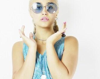 Blue Oversized Lennon Sunglasses