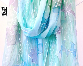 Hand Painted Silk Shawl, Blue Green Large Silk Scarf, Blue Silk Chiffon Scarf, Ethereal Iris Kimono Scarf, 22x90 inches, Made to order