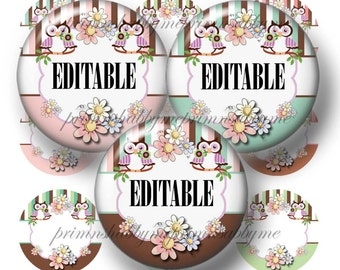 """Owls and Daisies, Editable Bottle Cap Images, Digital Collage Sheet (No.2) Add Your own Words Or Names 1"""" Inch Circles PNG and JPG"""