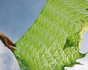 Lime Green Hand Knit Shawl, Green Shawl, Knit Scarf in Green, Hand Knit Lace Shawl,  Chartreuse Green  Shawl