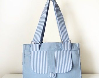 Handbag / Shoulder Bag for Women with Pockets, Two Straps and a Zippered Closure in Blue and White Stripes